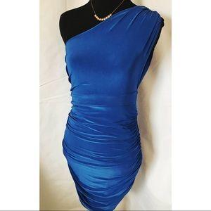 Cobalt Blue Asymmetrical Cocktail Bodycon Dress